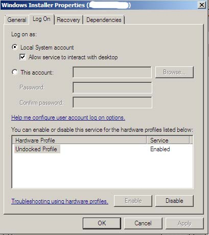Windows Installer Service Settings